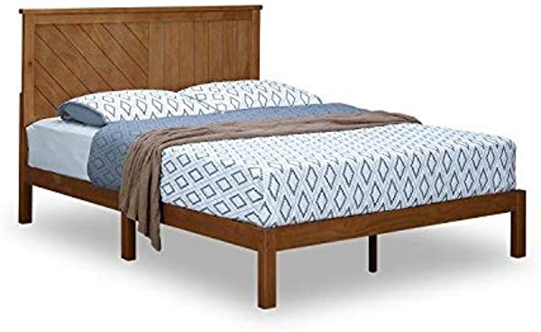 MUSEHOMEINC Solid Wood Platform Bed Deluxe Unique Style Design With Headboard Natural Finish Queen