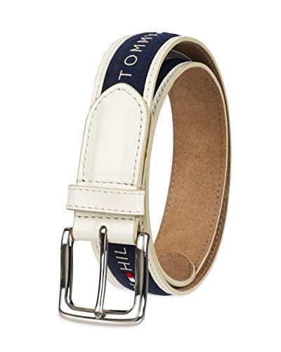 Tommy Hilfiger - Cinturón con cinta incrustada para hombre. Diseño con cinta de tejido trenzado y hebilla de una sola aguja - Marfil - 32