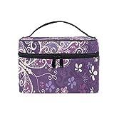 Bolsa de cosméticos de Flores y Mariposas púrpuras sin Costuras Estuche de tocador práctico de Gran Capacidad Organizador de Maquillaje de Viaje para niñas Mujeres