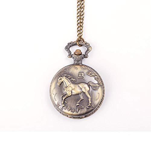 WTFYSYN Reloj Médico de Bolsillo Colgante,12 Reloj de Bolsillo del Zodiaco Chino, médico Enfermera mecánico Reloj-Caballo