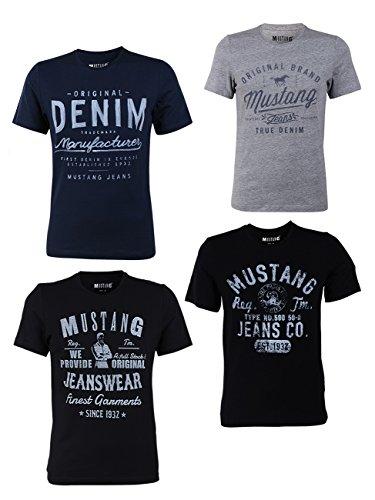 MUSTANG Herren T-Shirt 4er Pack Frontprint O-Neck Rundhalsausschnitt Kurzarm Regular Tee Shirt 100% Baumwolle Schwarz Weiß Grau Blau, Größe:XXL, Farbe:Farbmix (P8)