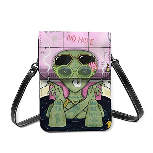 Cell Phone Purse Alien Smoke And Chill In Bath Wallet Crossbody Bags For Women Lightweight Shoulder Bag