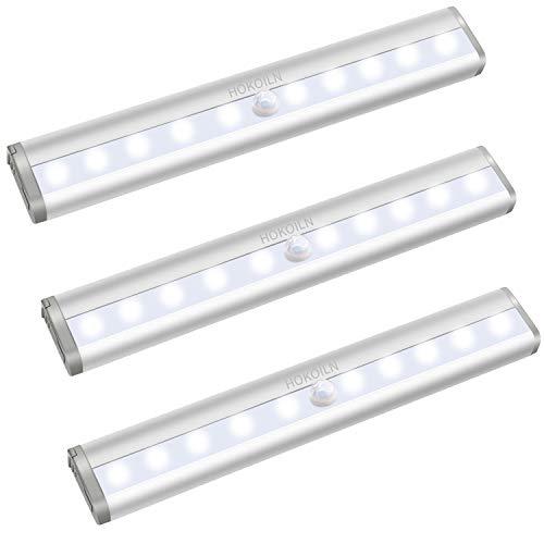 Motion Sensor Closet Lights, HOKOILN 10 LED Motion Sensor Lights, Stick-on Anywhere Wireless Battery Operated Night Light Bar, Safe Lights for Closet Cabinet Wardrobe Stairs, 3 Pack