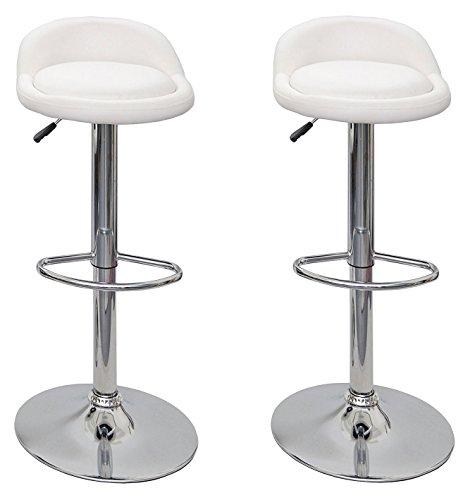 La Silla Española - Pack de dos taburetes con asiento redondo en color blanco, en simil piel, regulable en altura. 38x33x90 cm, 2 unidades