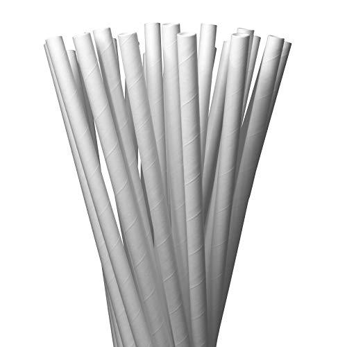LAGETTO 100 x Jumbo Trinkhalme Papier XXL Ø: 8 mm Länge: 250 mm Cocktail Strohhalme Papierstrohhalme Papiertrinkhalme (Weiß)