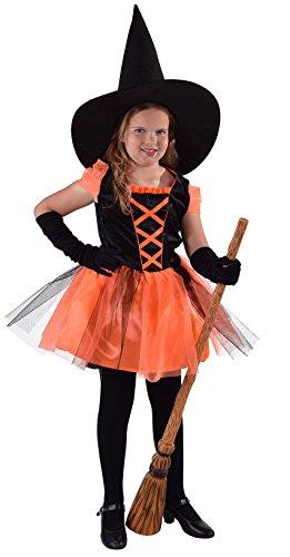 M216015-116 - Vestido de bruja para nios, talla 116, color negro y naranja