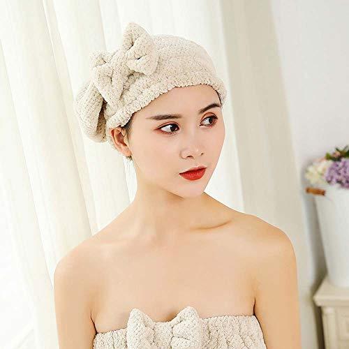 heiyun Microfiber Hair Drying Towels Head wrap with Bow-Knot Shower Cap Hair Turban hairWrap Bath Cap Hair Gift for Women(beige)