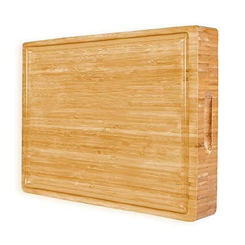 PREMIUM Butcher Block   Bamboo Cutting Board   X-Large   Organic   Size 17''x13''x1.5''