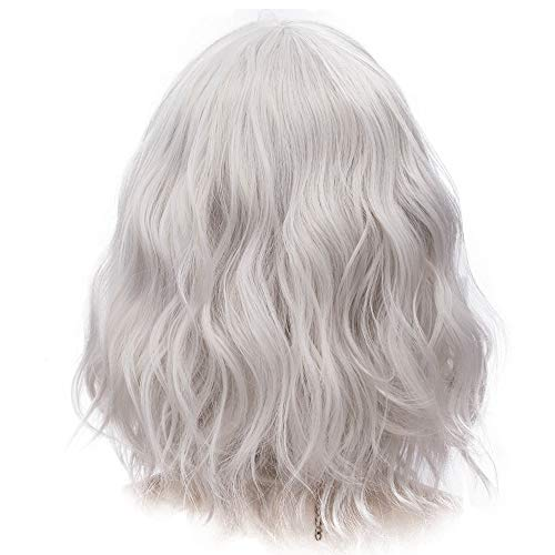 Amback Probeauty Sweety Collection Lolita 40CM Short Curly Women Lolita Anime Cosplay Wig + Wig Cap (Silver Grey)