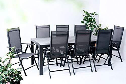 Outfit Juego de mesa de comedor de jardín de textileno y Polywood, 9 piezas con 8 sillas plegables y ajustables para 8 personas, mesa extensible, adecuada para el jardín, el balcón o la terraza