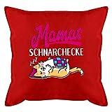 Muttertagsgeschenk Kissen - Mamas Schnarchecke - weiß/Fuchsia - Unisize - Rot - Kissen weiß -...