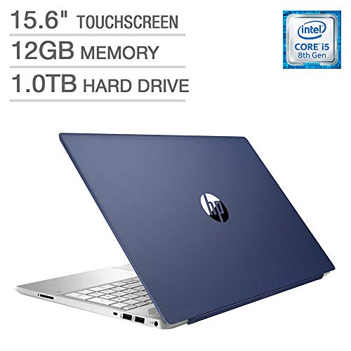 2018 Newest HP Pavilion Business Flagship Laptop PC 15.6' HD Touchscreen Display 8th Gen Intel i5-8250U Quad-Core Processor 12GB DDR4 RAM 1TB HDD Backlit-Keyboard Bluetooth B&O Audio Windows 10-Blue