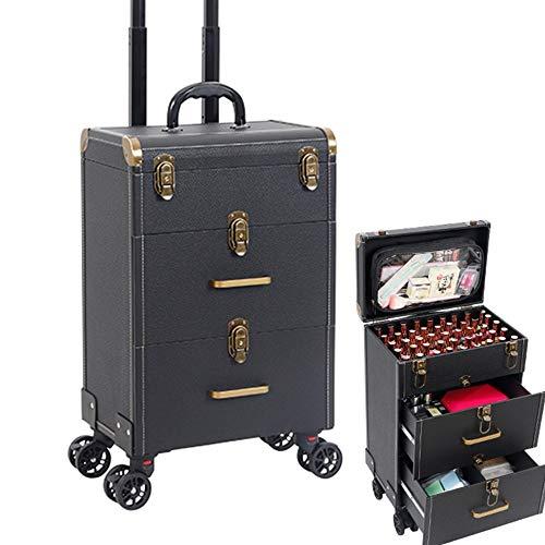 MQSS Beauty Case per Estetista,Trolley da Trucco Professionale,Valigetta Porta Trucco,Valigia per Professionale,Chiudibile a Chiave3 Layer Black