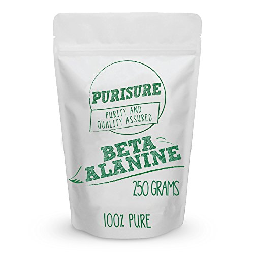 Purisure Beta Alanine Powder 250g (334 Servings), Endurance for Workout, Train Harder for Longer Hours, Increase Muscle Mass, Improved Recovery Time