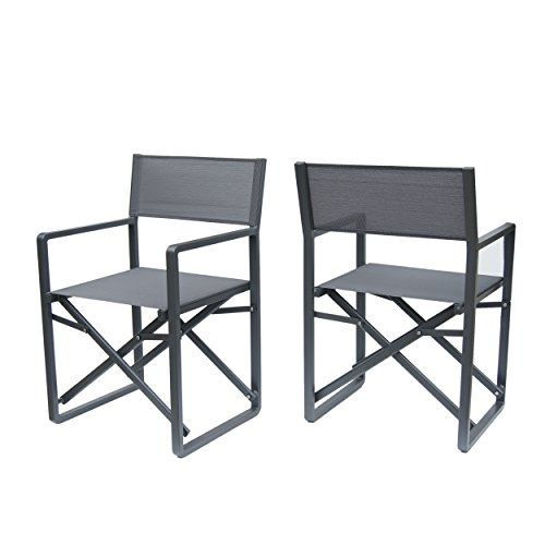 Great Deal Furniture 304604 Teresa - Juego de 2 sillas de Director de Malla y Aluminio para Exteriores, Color Gris Oscuro