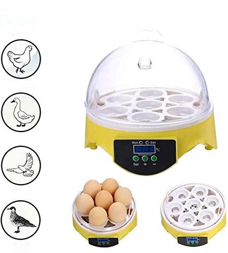 Mini Inkubator, 7 Eier Inkubator Vollautomatisch Temperatur Digital Hatchery für Geflügel Huhn Ente Wachtel die Inkubation der Eier Zucht.(EU plug)