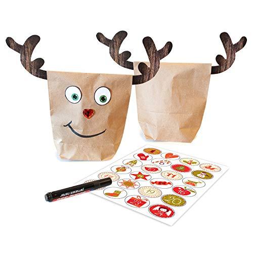 Adventskalender zum Befüllen Rudis 24 Helfer, 24 beschichtete Papiertüten Geschenktüten, Weihnachtskalender Bastelset inkl. Adventszahlen Aufkleber, Klammern und Accessoires von pajoma