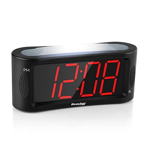 REACHER LED Digital Wecker mit Nachtlicht, Snooze Funktion, Full Range Helligkeit Dimmer, Große Rote Ziffern, 4,9 Zoll Display, Netzbetrieben, Schwarz