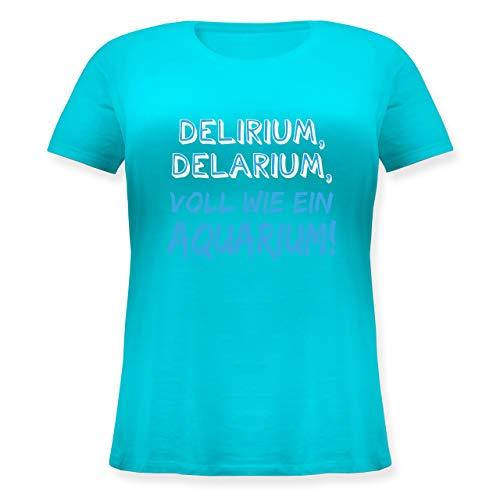 Sprüche - Delirium, Delarium, Voll wie EIN Aquarium! - 50 Große Größen - Hellblau - Geschenk - JHK601 - Lockeres Damen-Shirt in großen Größen mit Rundhalsausschnitt