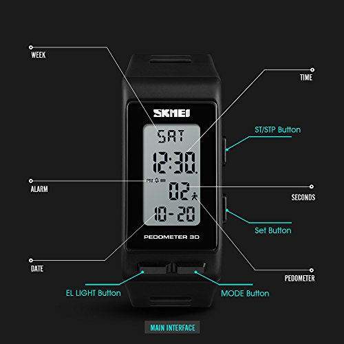 TONSHEN Unisex Outdoor Sport Digital Watch for Men and Women Multifunction Pedometer Calories LED Backlight Stopwatch Rectangular Plastic Case with Rubber Band Wrist Watches for Fitness (Black)