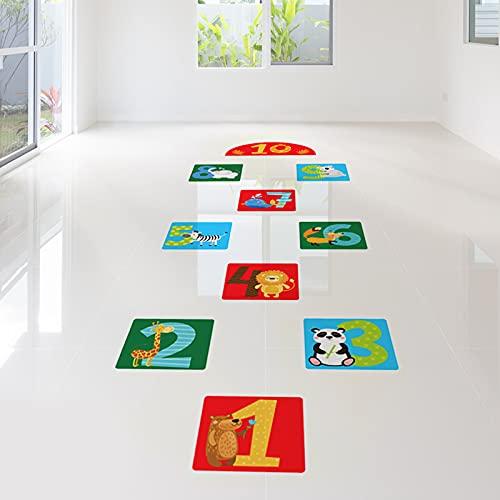 10 Number Lattice Floor Sticker Wall Decals, Creative Cartoon Animals Puzzle Hopscotch Game Wall Stickers, Removable DIY Art Ground Corridor Wallpaper Décor for Kids Bedroom, Nursery, Classroom