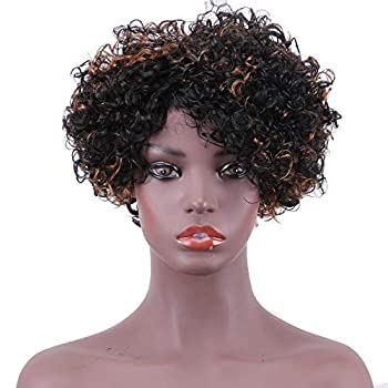 AILIMEI Short Curly Wigs for Black Women,Ombre Mixed Color None Lace Front Wig Kinky Curly Human Hair Wig Jerry Curl Wig With Bangs Piano Color Curly Afro Wig P1/30