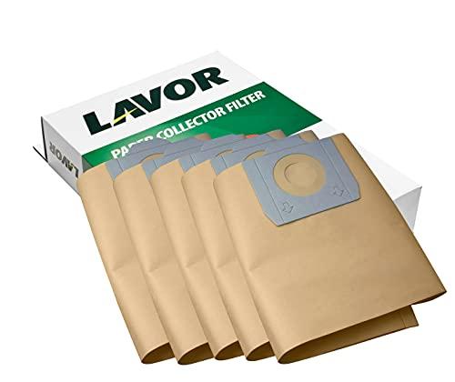 LAVOR Sacchetti Raccoglitori in Carta per Aspiratori WT30, CF30, Trenta, GNX, Swimmy - 5 Pezzi