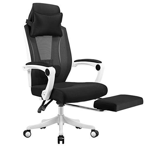 Chaise de Bureau Ergonomique réglable en Hauteur avec Un Soutien Lombaire, Chaise d'ordinateur de Support de Pied Chaise de Jeu de Sport électronique LI Jing Shop (Couleur : Blanc)
