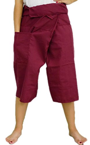 Dark Red Toray - 3/4 Men Women Thai Fisherman Pants Yoga Trousers by Thai Spicy Free Size