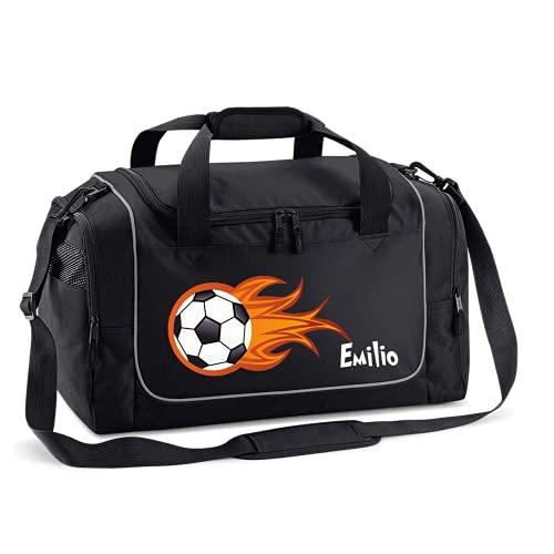Mein Zwergenland Sporttasche Kinder personalisierbar 38L, Kindersporttasche mit Name und Feuerball Bedruckt in Schwarz