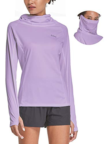 BALEAF Women's Hoodie Shirts with Face Cover Long Sleeve UPF 50+ Lightweight Quick Dry SPF Neck Gaiter Hiking Fishing Outdoor Light Purple Size M