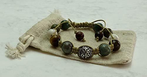 Shamballa-Armband aus Naturstein Perlen mit DZI glücksbringe tibetische Perle, Sabijou