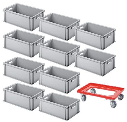 10er SPAR-Set Euro-Behälter PLUS GRATIS Transportroller, 600x400x220 mm Industriequalität lebensmittelecht grau