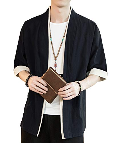 Shaoyao Hombres Cárdigan Chaqueta De Kimono Japonesa Chaqueta De Informal Chino Negro 3XL