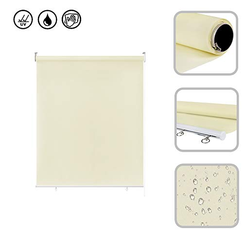 Froadp 100x140cm Senkrechtmarkise Außenrollo Sichtschutzrollo Reflektierende Thermofunktion Balkonrollo für Fenster & Türen(Beige)