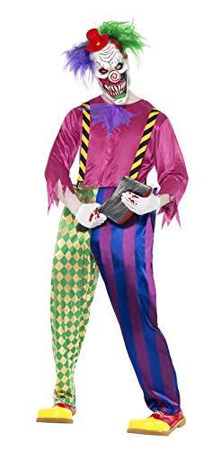 Smiffy's- Halloween Disfraz de Payaso Asesino a Todo Color, con Camiseta, pantaln, Tirantes y Caret, Multicolor, L (52-54) (21623L)