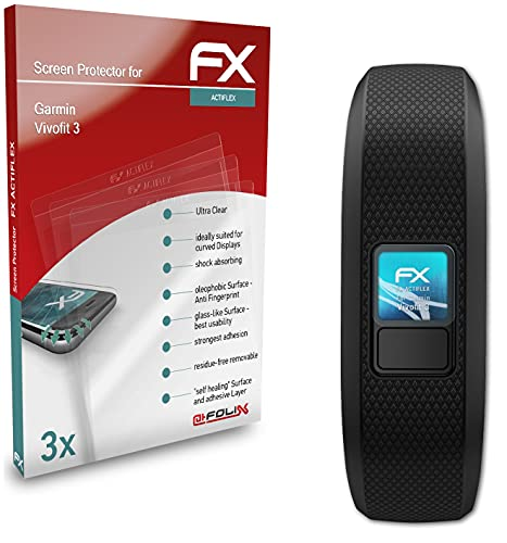 atFoliX Schutzfolie kompatibel mit Garmin Vivofit 3 Folie, ultraklare & Flexible FX Bildschirmschutzfolie (3X)