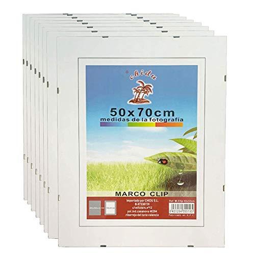 Caja de 8 Marcos de Clip 50 x 70 cm, Soporte sin Marco para fotografías, Porta Foto con Clip