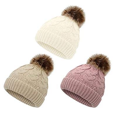 Zando Baby Girl Hats Kids Winter Hat Infant Pom Pom Beanie Toddler Caps Knit Warm Beanies Cap for Baby Boys White Pink Khaki One Size