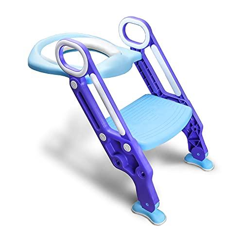 Moebeliev Toilettentrainer mit Treppe für Kinder Lerntöpfchen Toilettensitz Rutschfest Rutschfest stabil klappbar und höhenverstellbar für 1-7 jährige Justierbarer (Blau)
