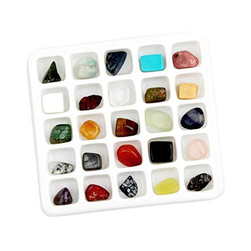 STOBOK Naturstenar kristaller 1 låda, sten naturlig malm naturliga stenar läkande hem inomhus dekorativ lärande leksak samling exempel dekoration Feng Shui helande stenar – 13 × 12 cm