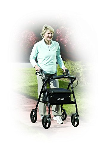 """Drive Medical R726BK Aluminum Rollator Walker Fold Up and Removable Back Support, Padded Seat, 6"""" Wheels, Black"""