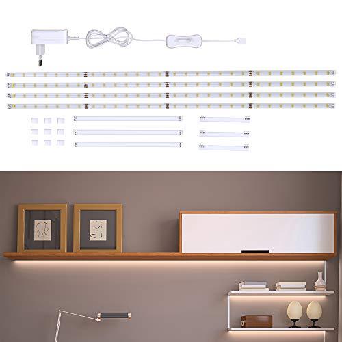 B.K.Licht Striscia LED 2m, set di 4 pezzi da 50cm, Luce bianca naturale 4000k, Include connettori, interruttore e spina europea, uso interno, Accorciabili, Adesive, per soggiorno cucina camera, IP20