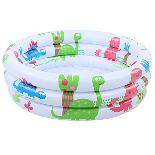 Preciosa piscina de dinosaurio para niños redonda de 60 cm / 23,6 pulgadas de dibujos animados, con material de PVC ecológico, mini piscina para bebés, entrenamiento impermeable para bebés,