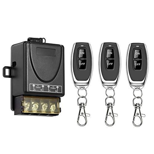TSSS Funkschalter mit 3 Fernbedienung 230V AC 2000W max 30A Radiofrequenz 433MHz Wireless Licht Schalter für Beleuchtung Lampen Motoren und Andere elektronische Geräten