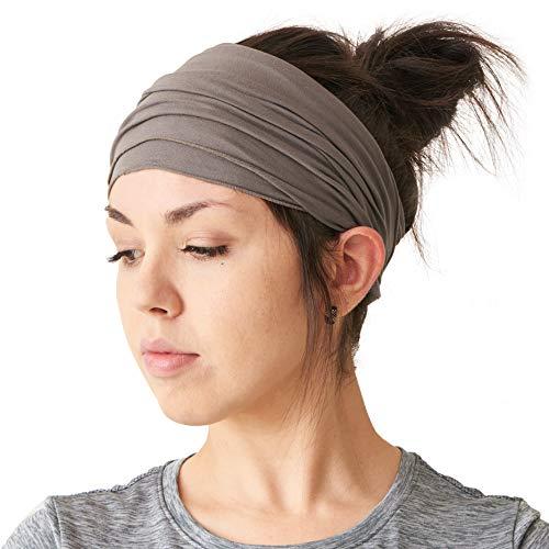 Casualbox elastisches Stirnband, Bandana, für langes Haar, Dreadlocks Gr. Einheitsgröße, dunkelgrau