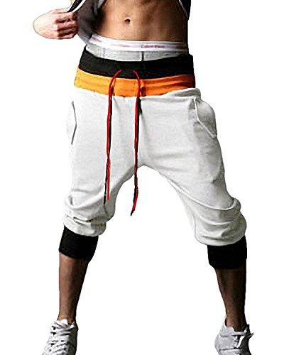 Minetom Herren Jungen Haremshose Sporthose Harem Pant Sommerhose Pumphose Pluderhose Loose Crotch Hose (Weiße Shorts UK M/EU M)