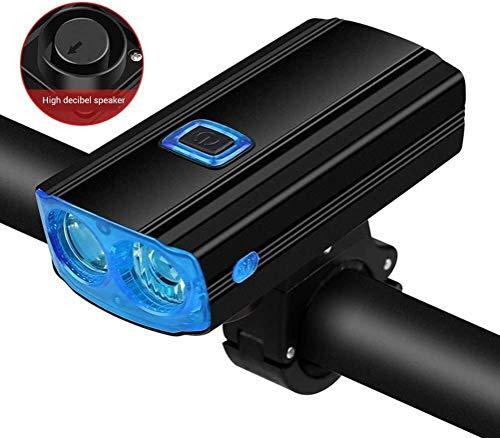 FANLIU USB Rechargeable vélo Avant la lumière avec avertisseur sonore intégré 4002mA Mobile Power Banque de vélos Porte de téléphone Mobile, Couleur: Vert (Color : Blue)