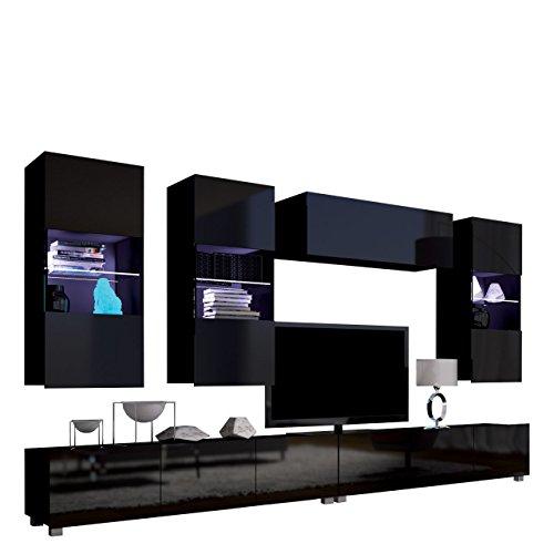 Moderne Wohnwand Calabrini V, Anbauwand, Mediawand, TV Lowboard, Hängevitrine, Wandregal, Wohnzimmerschrank, Fernsehschrank (ohne Beleuchtung, Schwarz/Schwarz Hochglanz)