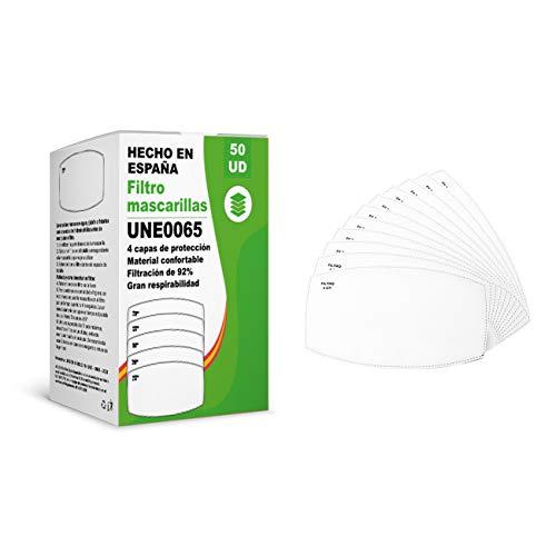 KALLPA® 50 filtros para mascarillas UNE0065 - REUTILIZABLES - fabricados en ESPAÑA - hidrófobo, antiestático y antibacteriano, muy transpirable, (TNT) (tnt)